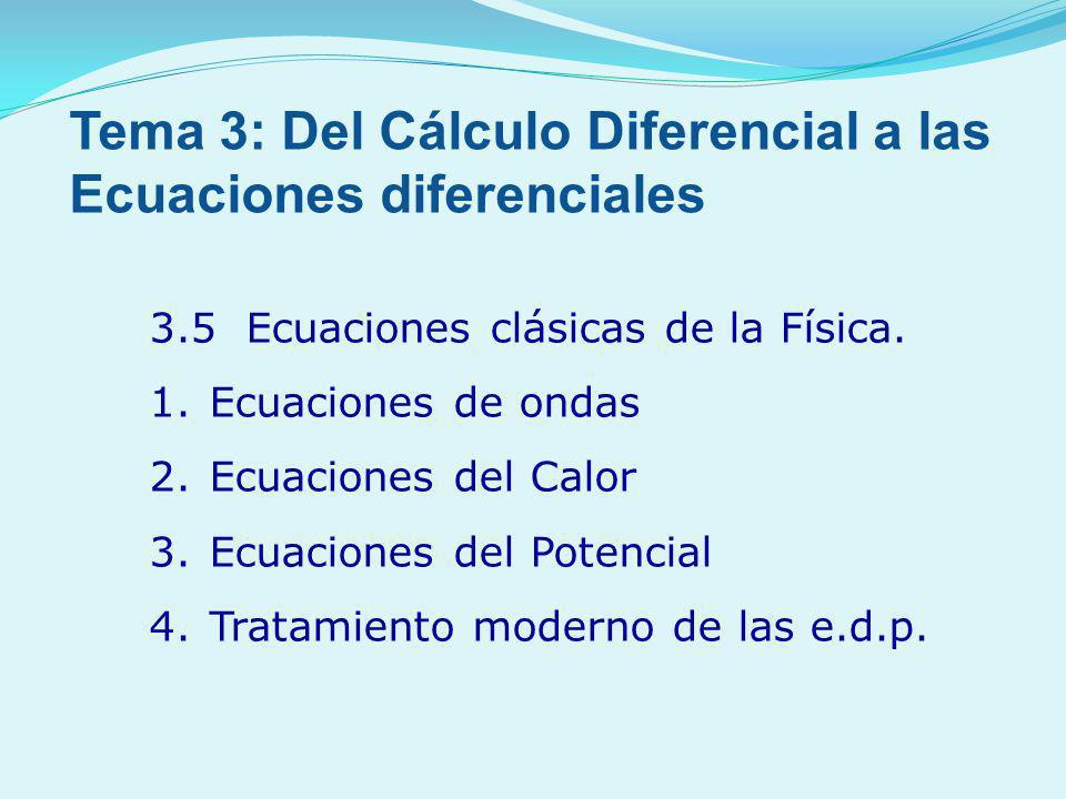 3.5 Ecuaciones clásicas de la Física. 1.Ecuaciones de ondas 2.Ecuaciones del Calor 3.Ecuaciones del Potencial 4.Tratamiento moderno de las e.d.p. Tema