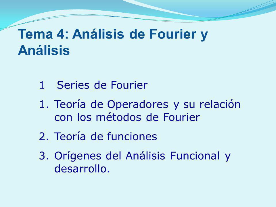 1 Series de Fourier 1.Teoría de Operadores y su relación con los métodos de Fourier 2.Teoría de funciones 3.Orígenes del Análisis Funcional y desarrol