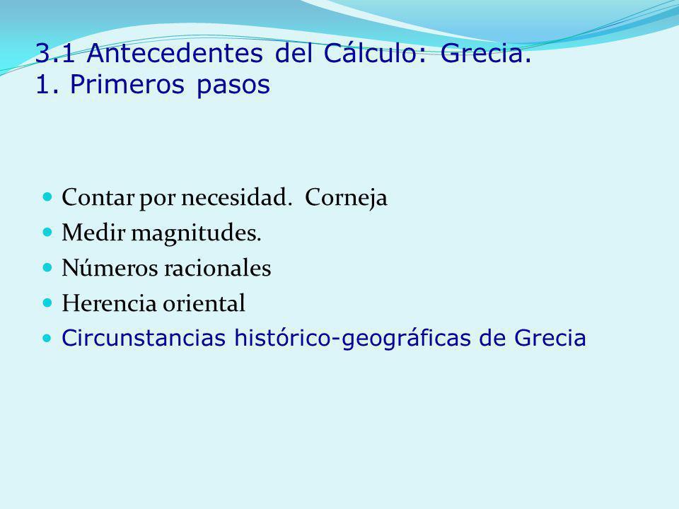 3.1 Antecedentes del Cálculo: Grecia. 1. Primeros pasos Contar por necesidad. Corneja Medir magnitudes. Números racionales Herencia oriental Circunsta