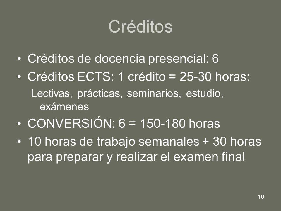10 Créditos Créditos de docencia presencial: 6 Créditos ECTS: 1 crédito = 25-30 horas: Lectivas, prácticas, seminarios, estudio, exámenes CONVERSIÓN: