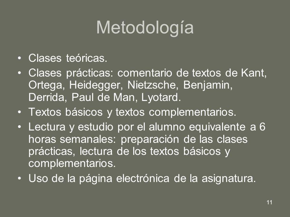 11 Metodología Clases teóricas. Clases prácticas: comentario de textos de Kant, Ortega, Heidegger, Nietzsche, Benjamin, Derrida, Paul de Man, Lyotard.