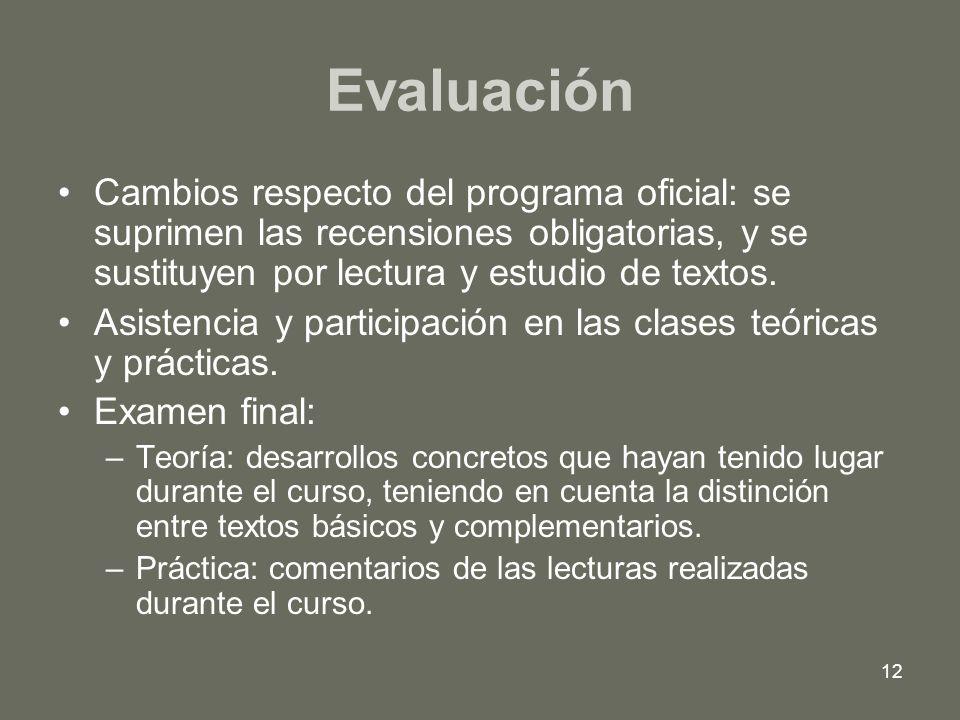 12 Evaluación Cambios respecto del programa oficial: se suprimen las recensiones obligatorias, y se sustituyen por lectura y estudio de textos. Asiste