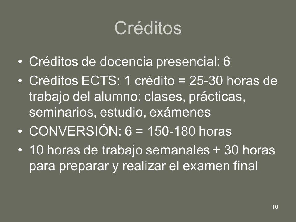 10 Créditos Créditos de docencia presencial: 6 Créditos ECTS: 1 crédito = 25-30 horas de trabajo del alumno: clases, prácticas, seminarios, estudio, e