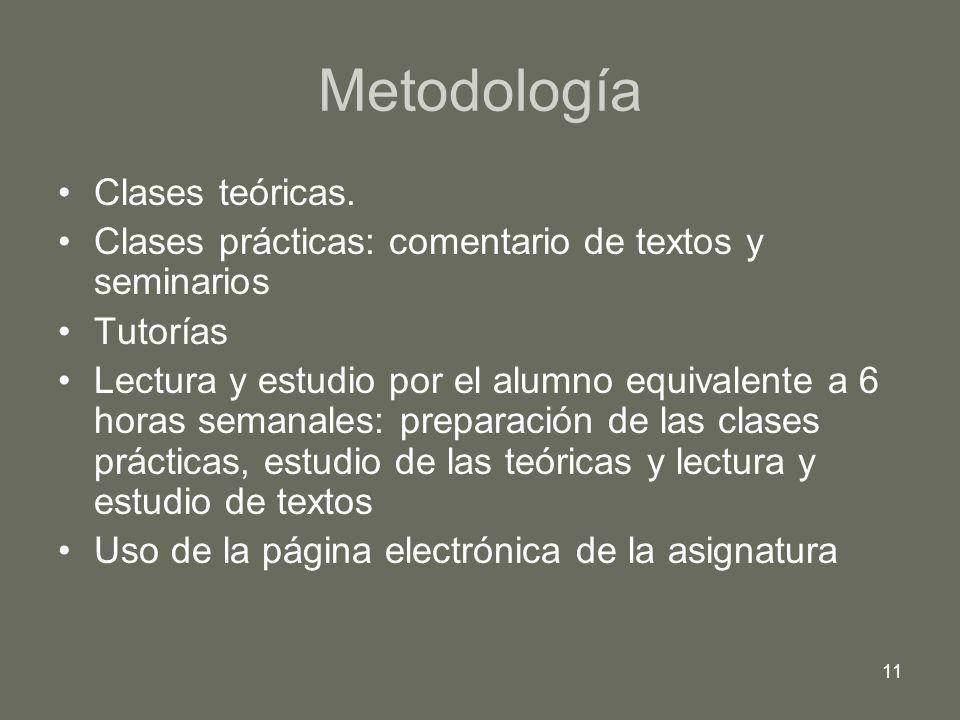 11 Metodología Clases teóricas. Clases prácticas: comentario de textos y seminarios Tutorías Lectura y estudio por el alumno equivalente a 6 horas sem