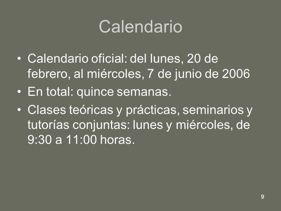 9 Calendario Calendario oficial: del lunes, 20 de febrero, al miércoles, 7 de junio de 2006 En total: quince semanas. Clases teóricas y prácticas, sem