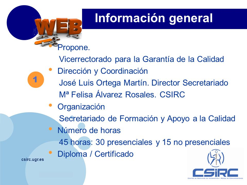www.company.com Información general csirc.ugr.es Propone.