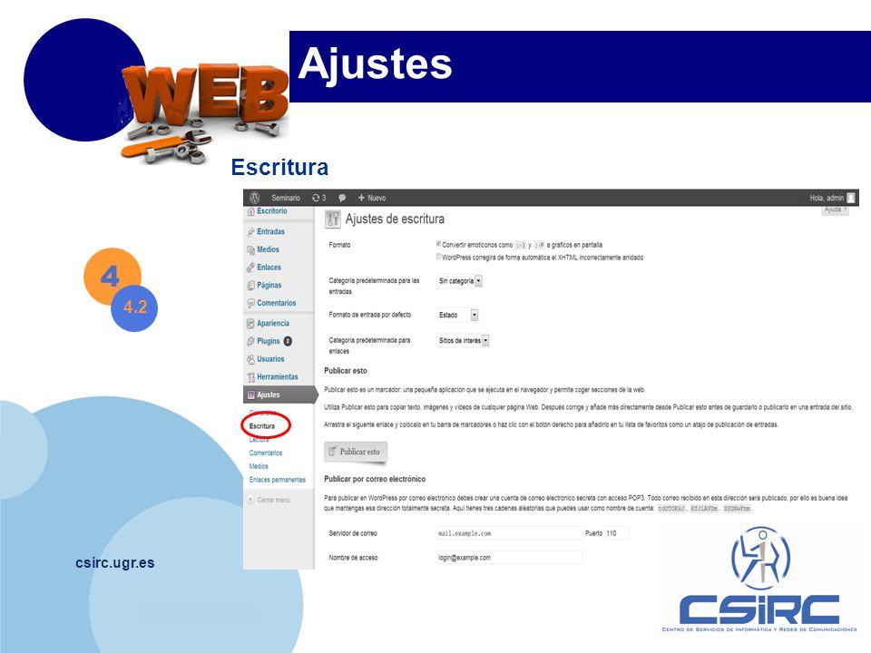 www.company.com csirc.ugr.es Ajustes Escritura 4 4.2