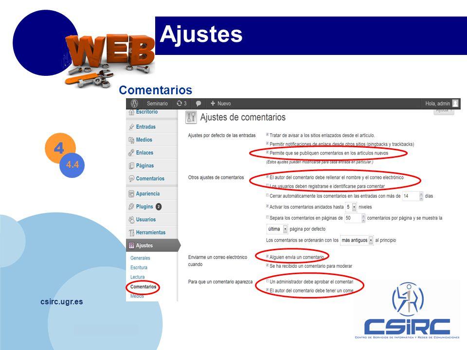 www.company.com csirc.ugr.es Comentarios 4 4.4 Ajustes