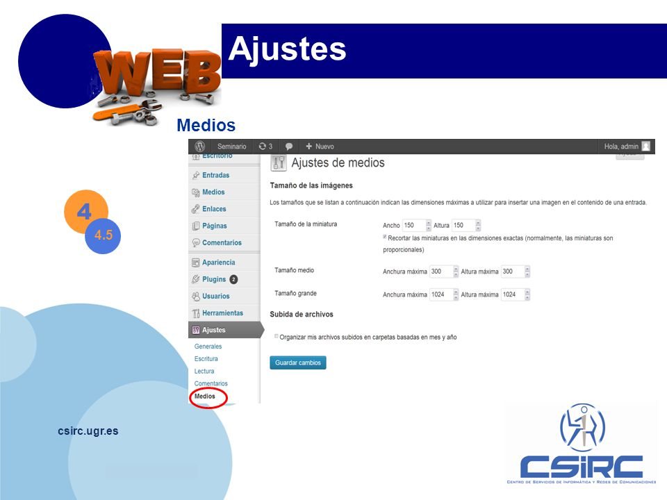 www.company.com csirc.ugr.es Ajustes Medios 4 4.5