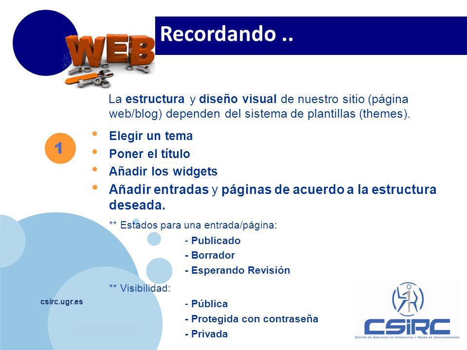 www.company.com csirc.ugr.es 1 Recordando.. La estructura y diseño visual de nuestro sitio (página web/blog) dependen del sistema de plantillas (theme
