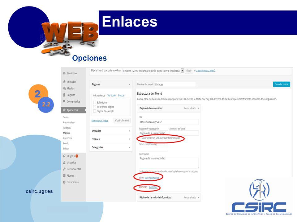 www.company.com csirc.ugr.es Enlaces Opciones 2 2.2
