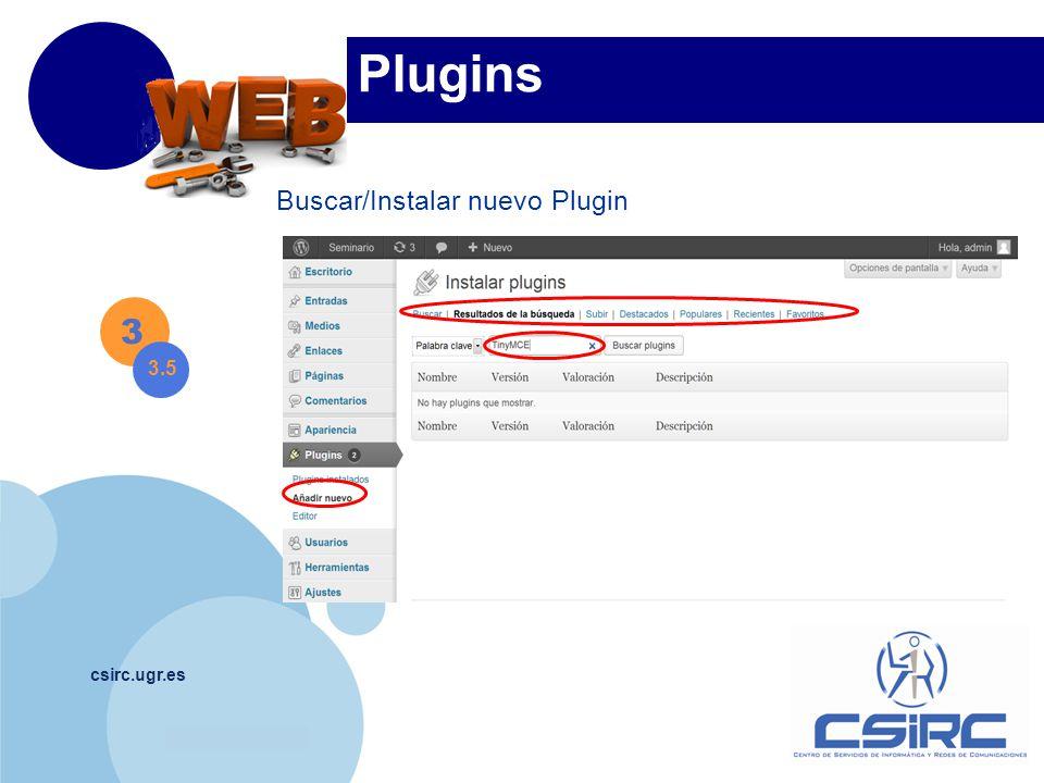 www.company.com csirc.ugr.es Plugins Buscar/Instalar nuevo Plugin 3 3.5