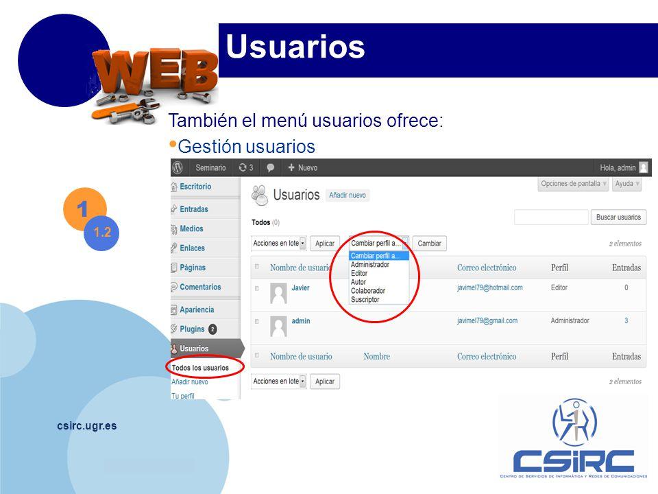 www.company.com csirc.ugr.es Plugins Gestión.Para Borrar o Editar un plugin, antes desactivarlo.