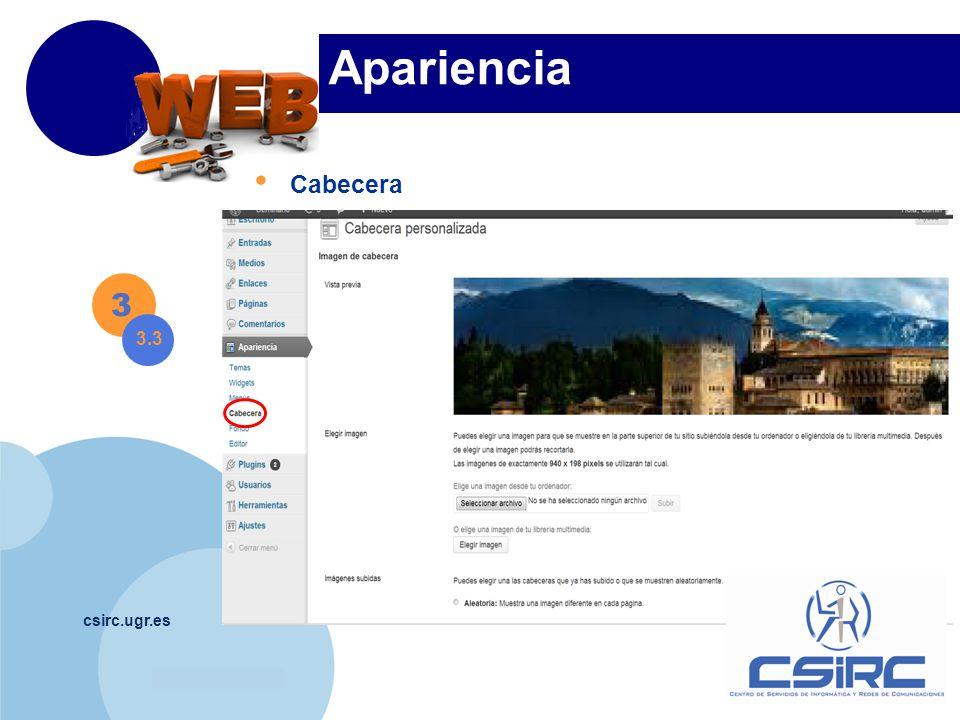 www.company.com csirc.ugr.es Apariencia Cabecera 3 3.3