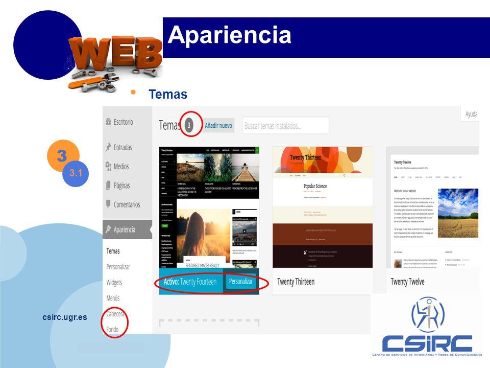 www.company.com csirc.ugr.es Apariencia Temas 3 3.1