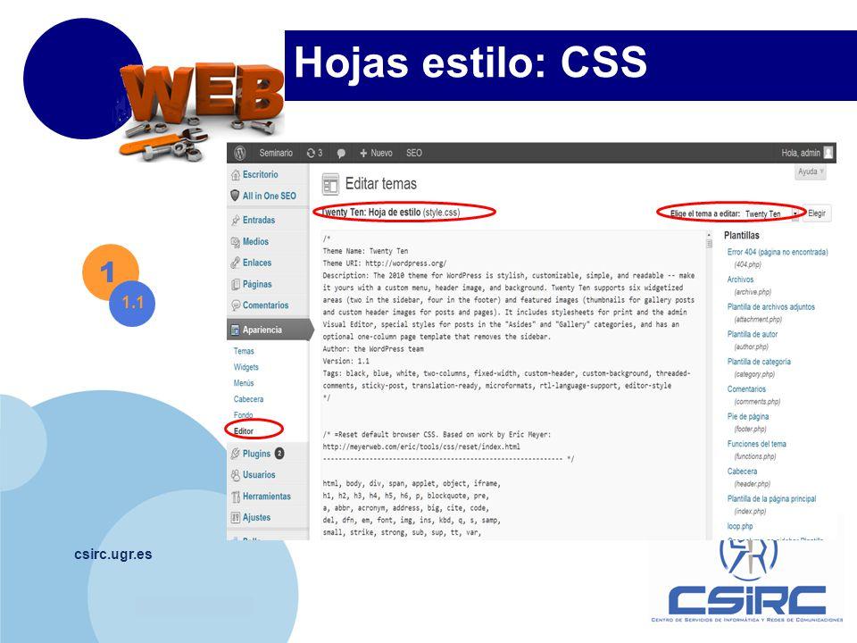 www.company.com csirc.ugr.es Hojas estilo: CSS 1 1.1 Título