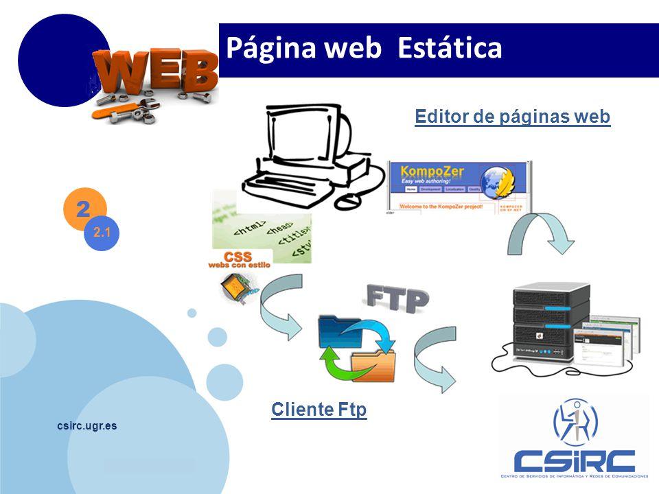 www.company.com csirc.ugr.es 2 2.1 Página web Estática Cliente Ftp Editor de páginas web