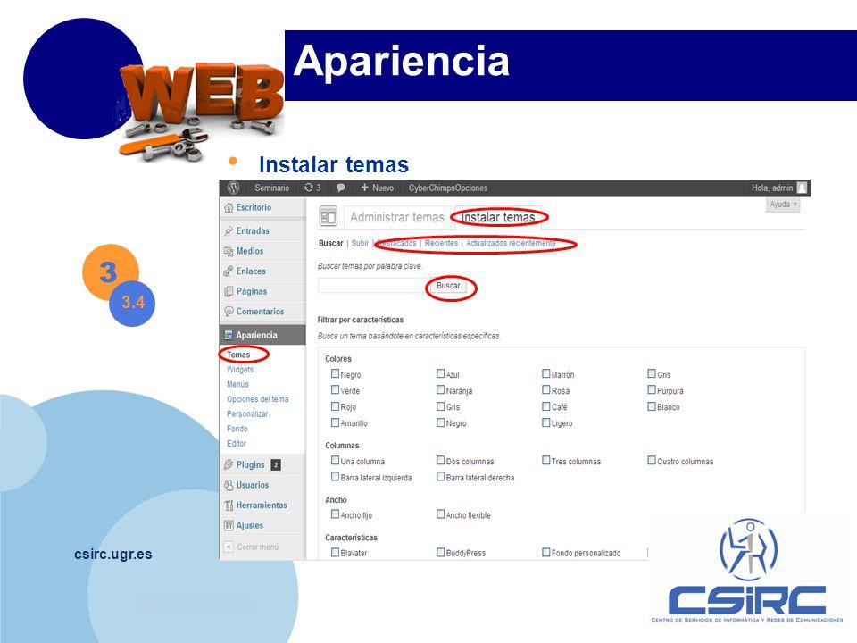 www.company.com csirc.ugr.es Apariencia Instalar temas 3 3.4