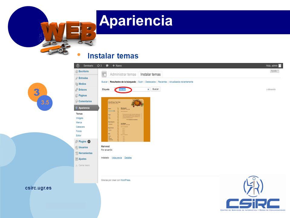 www.company.com csirc.ugr.es Apariencia Instalar temas 3 3.5