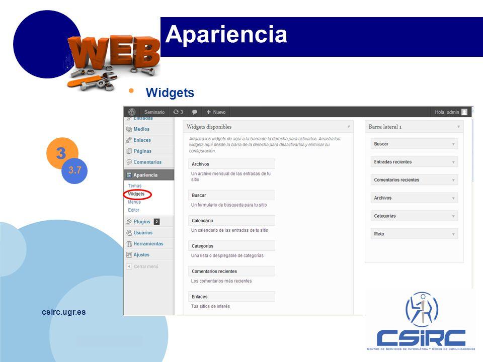 www.company.com csirc.ugr.es Apariencia Widgets 3 3.7