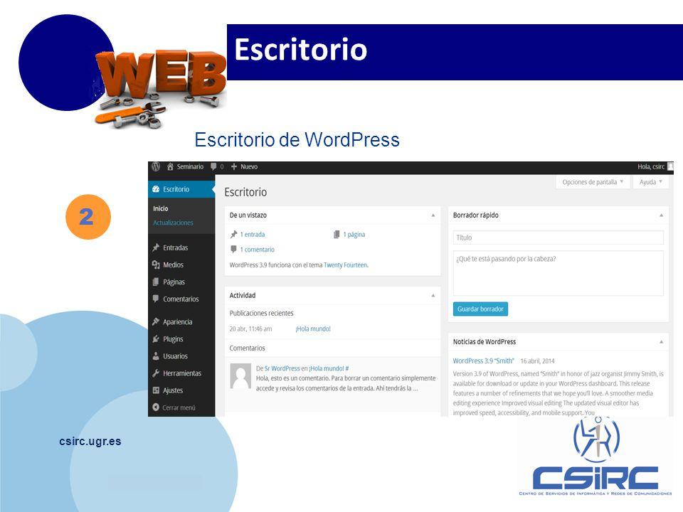 www.company.com csirc.ugr.es 2 Escritorio de WordPress Escritorio