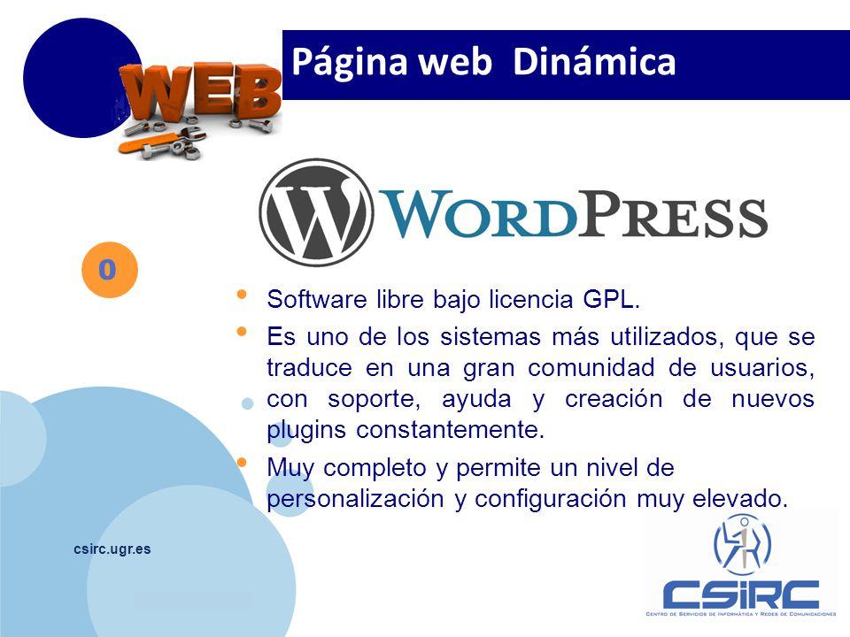 www.company.com csirc.ugr.es 2 Escritorio de WordPress http://wdb.ugr.es/~usuario /wp-admin Visualizar la pagina http://wdb.ugr.es/~usuario Escritorio