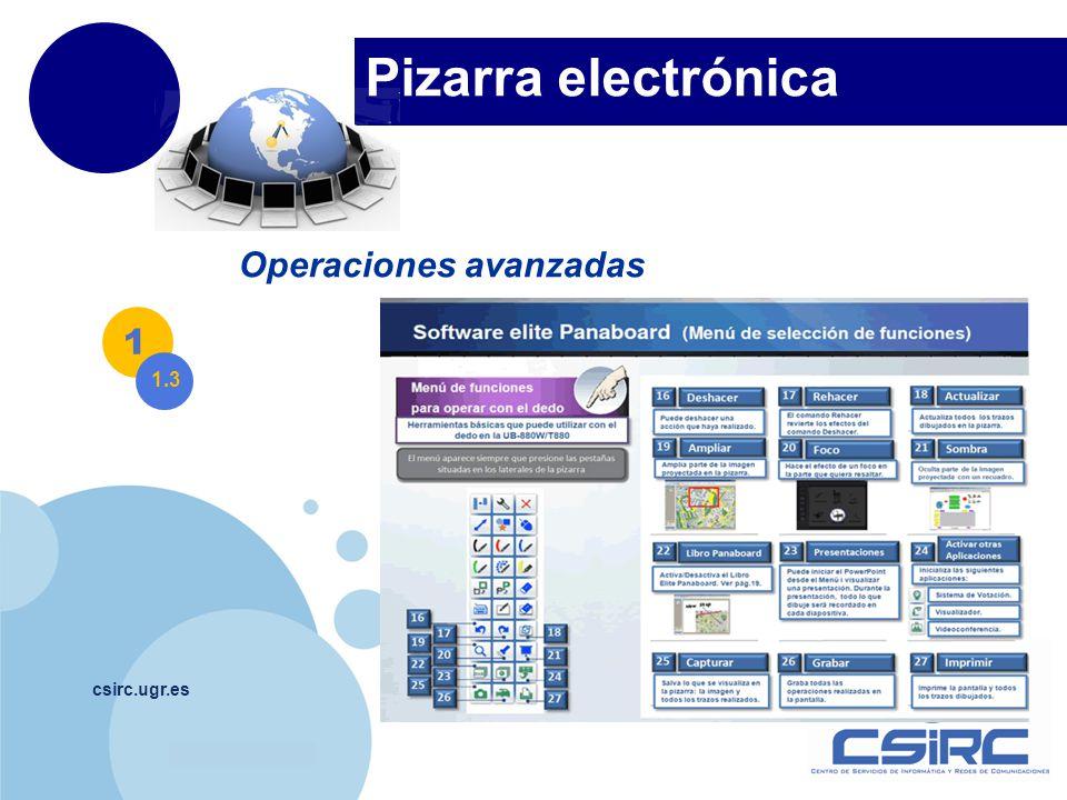 www.company.com Pizarra electrónica csirc.ugr.es Operaciones avanzadas 1 1.3