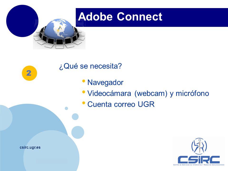 www.company.com Adobe Connect csirc.ugr.es ¿Qué se necesita.