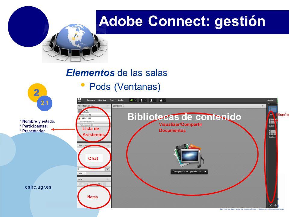 www.company.com Adobe Connect: gestión csirc.ugr.es Elementos de las salas Pods (Ventanas) 2 Lista de Asistentes Chat Notas Visualizar/Compartir Documentos Diseño s * Nombre y estado.