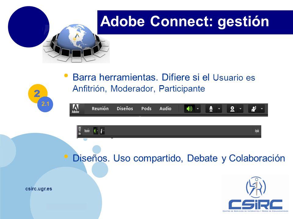 www.company.com csirc.ugr.es Barra herramientas. Difiere si el Usuario es Anfitrión, Moderador, Participante Diseños. Uso compartido, Debate y Colabor