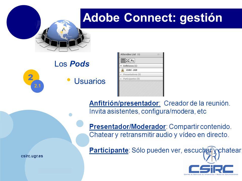 www.company.com csirc.ugr.es Los Pods Usuarios Anfitrión/presentador: Creador de la reunión.