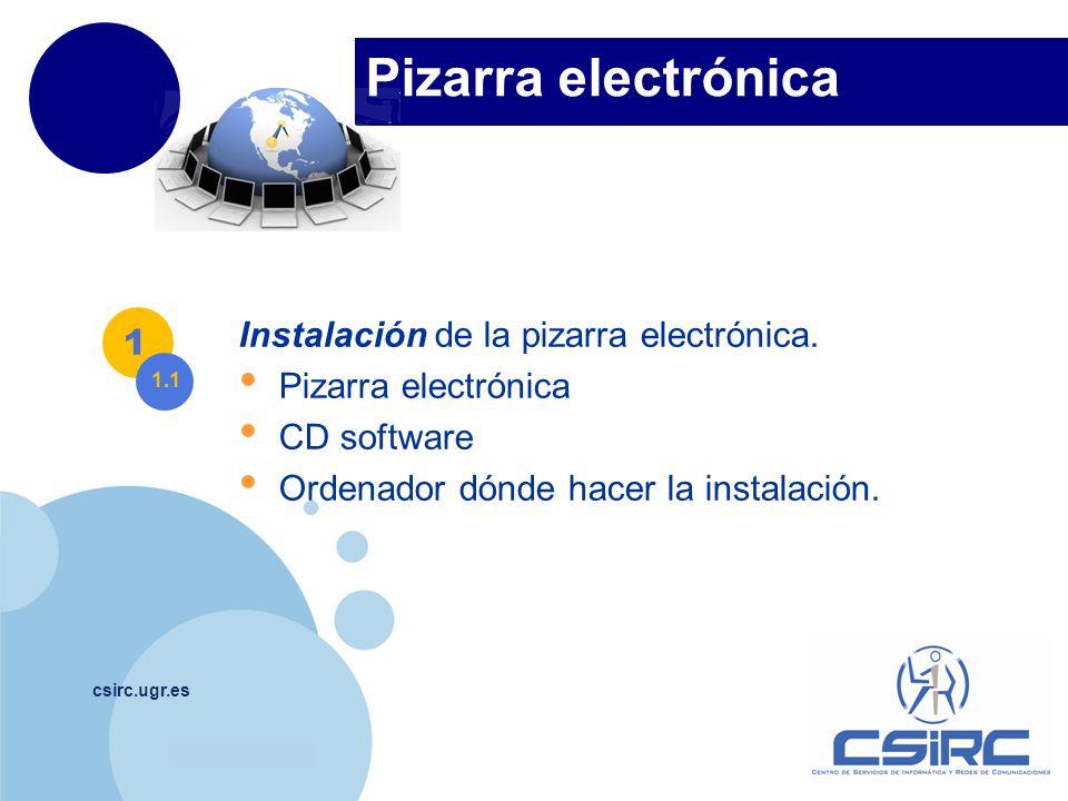 www.company.com Pizarra electrónica csirc.ugr.es Instalación de la pizarra electrónica. Pizarra electrónica CD software Ordenador dónde hacer la insta