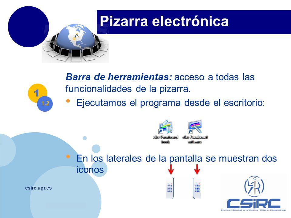 www.company.com Pizarra electrónica csirc.ugr.es Barra de herramientas: acceso a todas las funcionalidades de la pizarra.