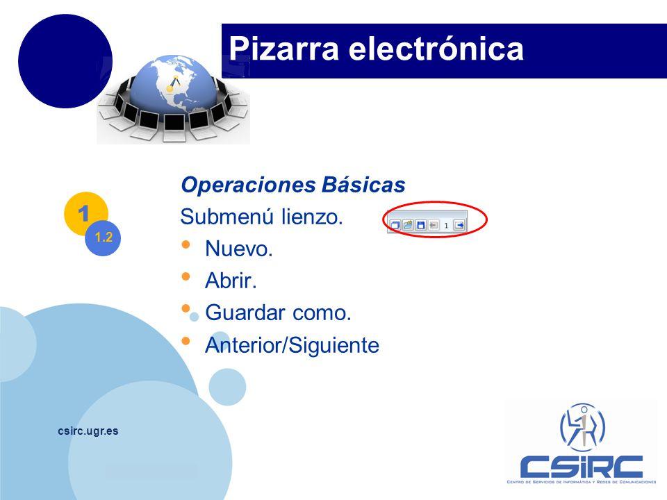 www.company.com Pizarra electrónica csirc.ugr.es Operaciones Básicas Submenú lienzo. Nuevo. Abrir. Guardar como. Anterior/Siguiente 1 1.2