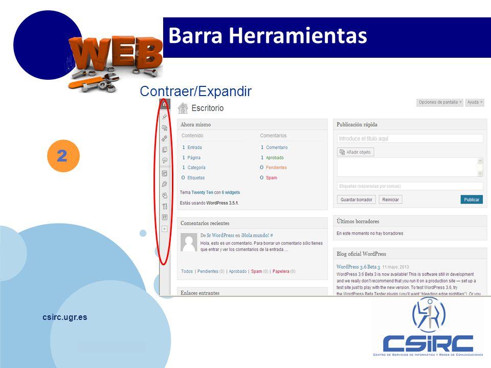www.company.com csirc.ugr.es 2 Barra Herramientas Contraer/Expandir
