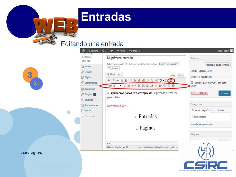www.company.com csirc.ugr.es 3 Entradas Editando una entrada 3.1