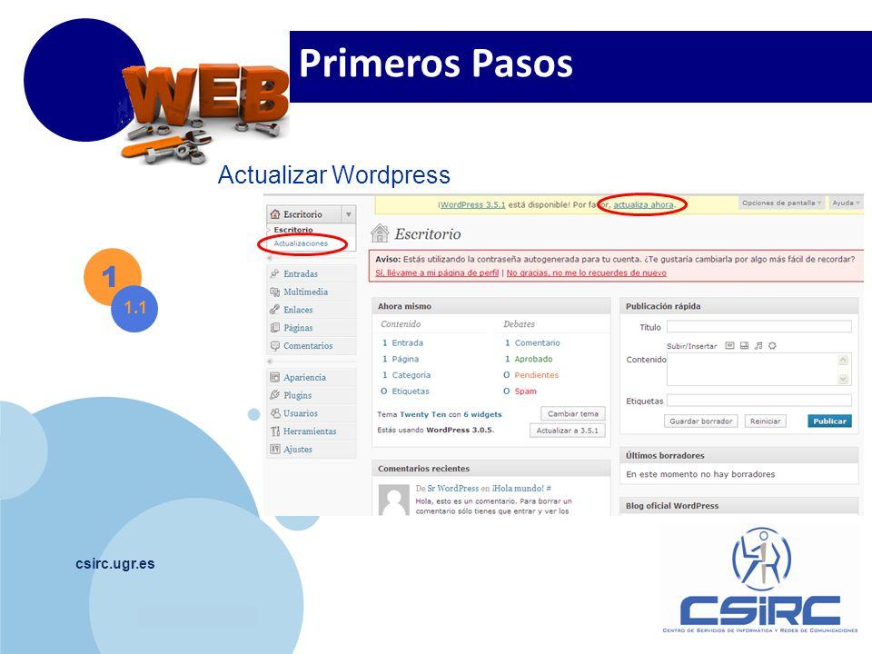 www.company.com csirc.ugr.es 1 1.1 Actualizar Wordpress Primeros Pasos