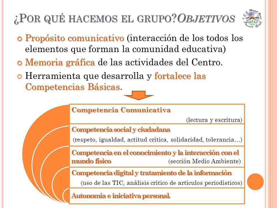 ¿P OR QUÉ HACEMOS EL GRUPO ? O BJETIVOS Propósito comunicativo Propósito comunicativo (interacción de los todos los elementos que forman la comunidad
