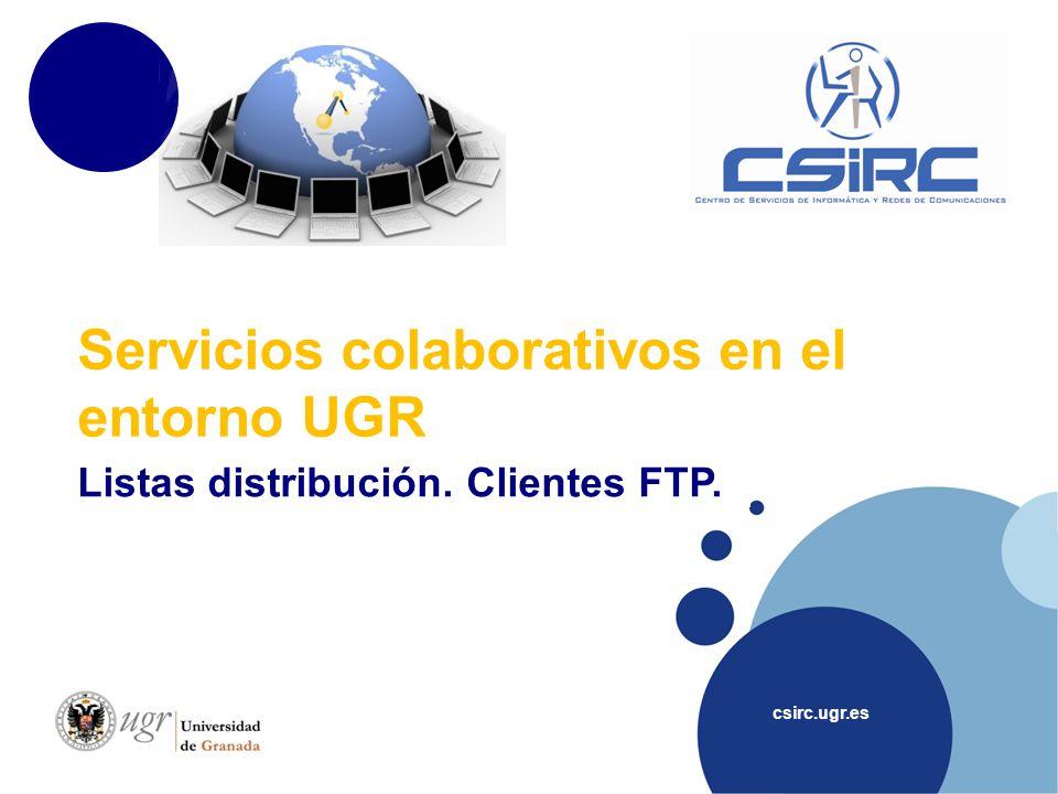 www.company.com Índice csirc.ugr.es Listas distribución Entorno UGR: Majordomo Fuera UGR Clientes FTP Dudas, sugerencias, contacto..