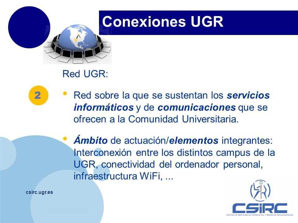 www.company.com Conexiones UGR csirc.ugr.es Red UGR: Red sobre la que se sustentan los servicios informáticos y de comunicaciones que se ofrecen a la