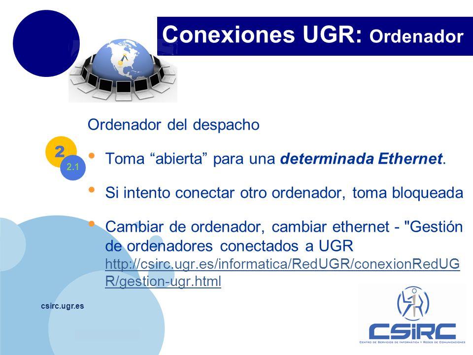 www.company.com Conexiones UGR: Ordenador csirc.ugr.es Ordenador del despacho Toma abierta para una determinada Ethernet. Si intento conectar otro ord