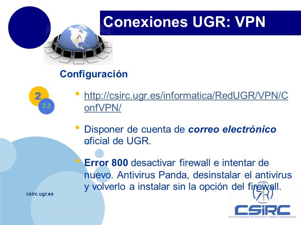 www.company.com Conexiones UGR: VPN csirc.ugr.es Configuración http://csirc.ugr.es/informatica/RedUGR/VPN/C onfVPN/ http://csirc.ugr.es/informatica/Re