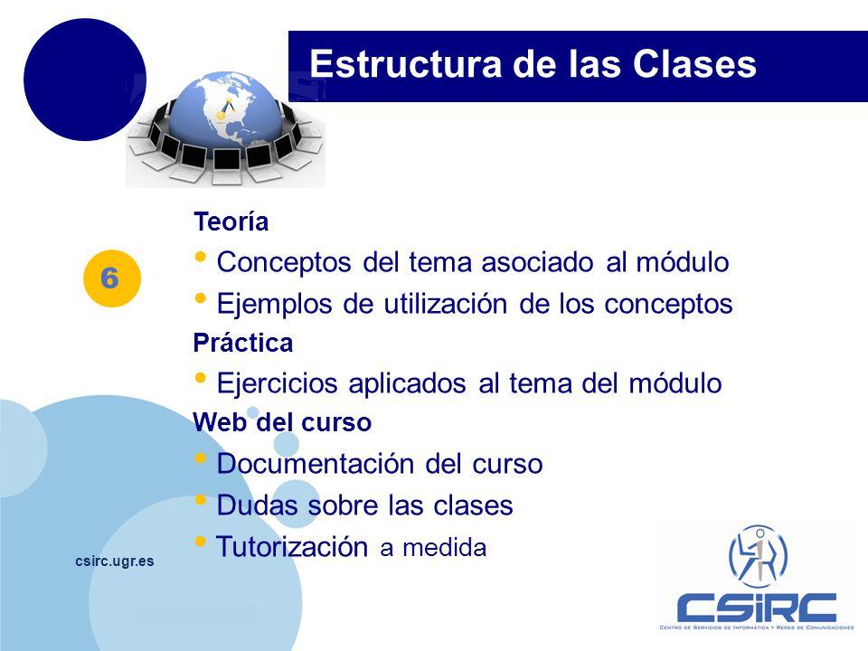 www.company.com csirc.ugr.es Teoría Conceptos del tema asociado al módulo Ejemplos de utilización de los conceptos Práctica Ejercicios aplicados al tema del módulo Web del curso Documentación del curso Dudas sobre las clases Tutorización a medida Estructura de las Clases 6