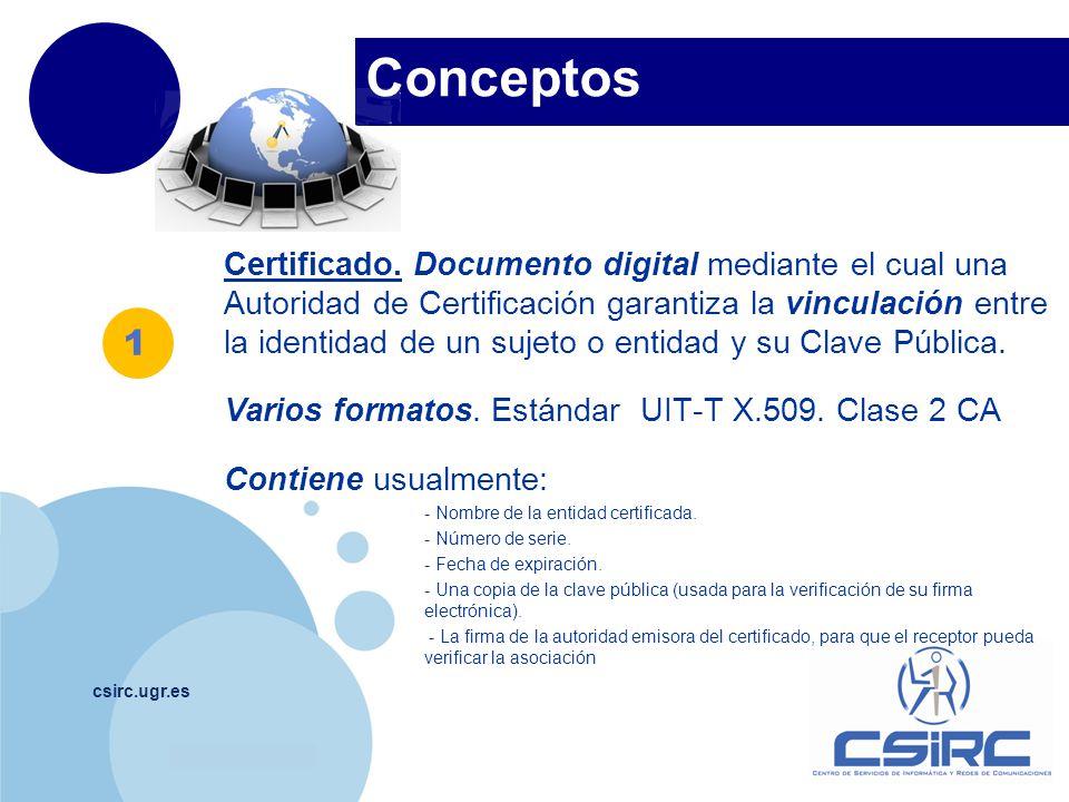 www.company.com Conceptos csirc.ugr.es Certificado. Documento digital mediante el cual una Autoridad de Certificación garantiza la vinculación entre l