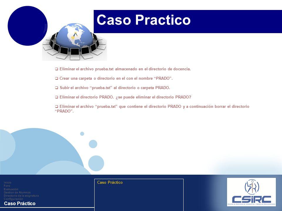 www.company.com Inicio Foro Evaluación Gestion de Alumnos Directorio de la asignatura Configuración Caso Práctico Eliminar el archivo prueba.txt almac