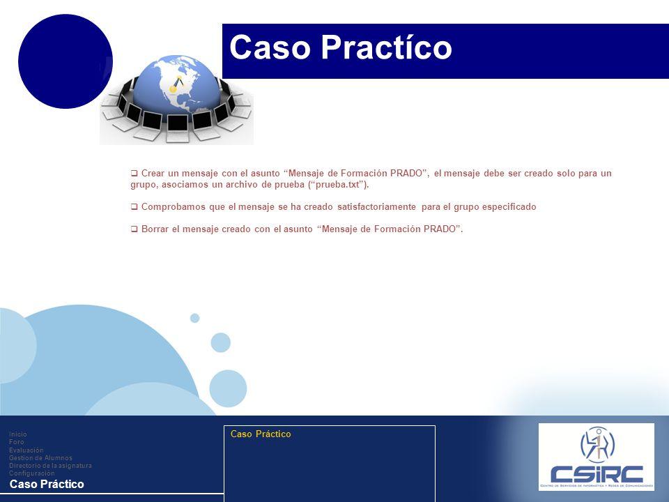 www.company.com Inicio Foro Evaluación Gestion de Alumnos Directorio de la asignatura Configuración Caso Práctico Crear un mensaje con el asunto Mensa