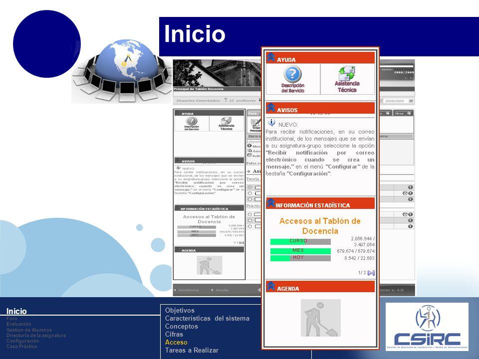 www.company.com Inicio Foro Evaluación Gestion de Alumnos Directorio de la asignatura Configuración Caso Práctico Objetivos Características del sistem