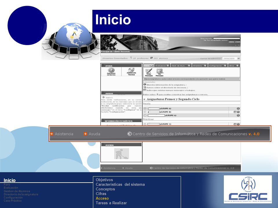 www.company.com Inicio Foro Evaluación Gestion de Alumnos Directorio de la asignatura Configuración Caso Práctico Objetivos Características del sistema Conceptos Cifras Acceso Tareas a Realizar Inicio
