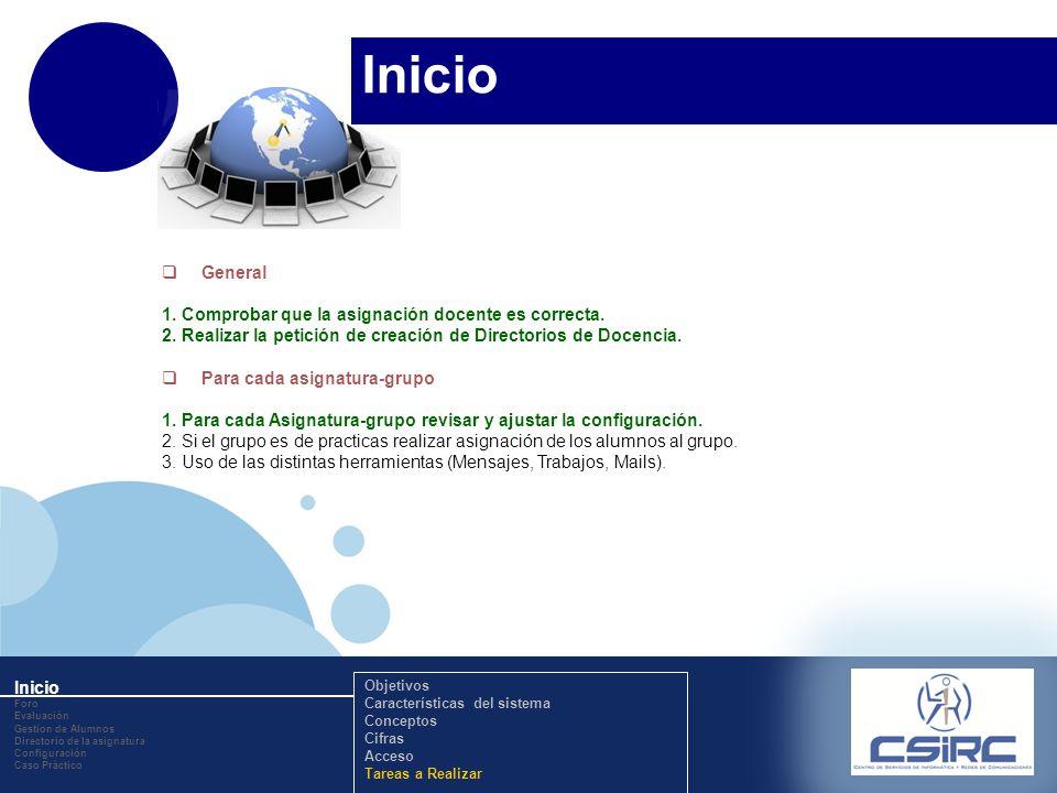 www.company.com Inicio General 1. Comprobar que la asignación docente es correcta. 2. Realizar la petición de creación de Directorios de Docencia. Par
