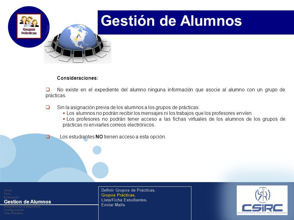 www.company.com Consideraciones: No existe en el expediente del alumno ninguna información que asocie al alumno con un grupo de prácticas. Sin la asig